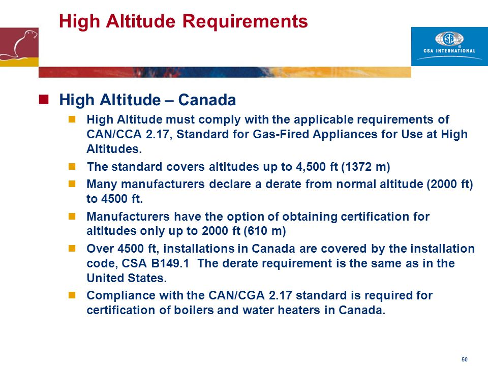 High Altitude Requirements