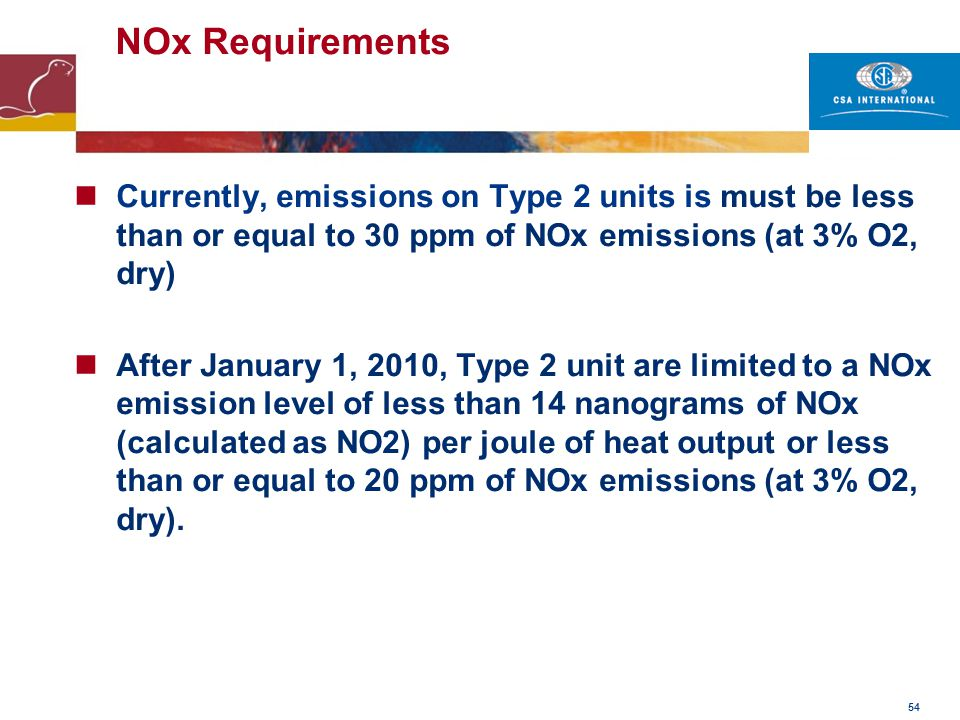 NOx Requirements Currently, emissions on Type 2 units is must be less than or equal to 30 ppm of NOx emissions (at 3% O2, dry)