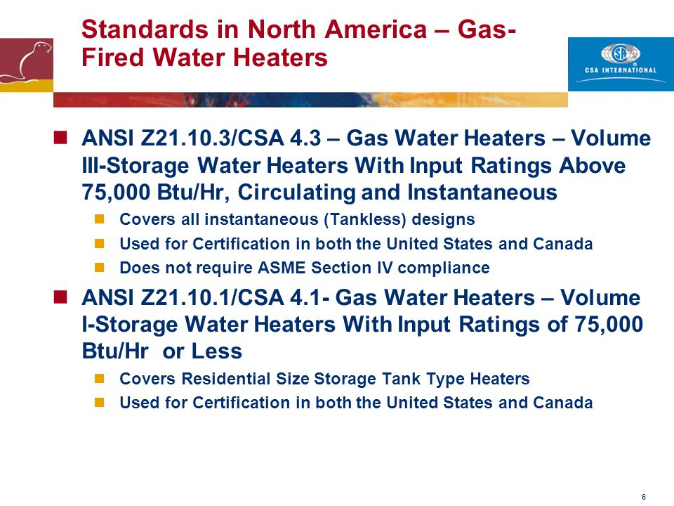 Standards in North America – Gas-Fired Water Heaters