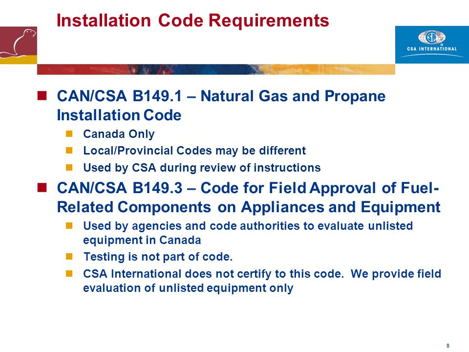 Installation Code Requirements