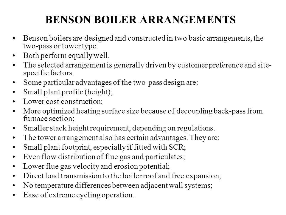 BENSON BOILER ARRANGEMENTS