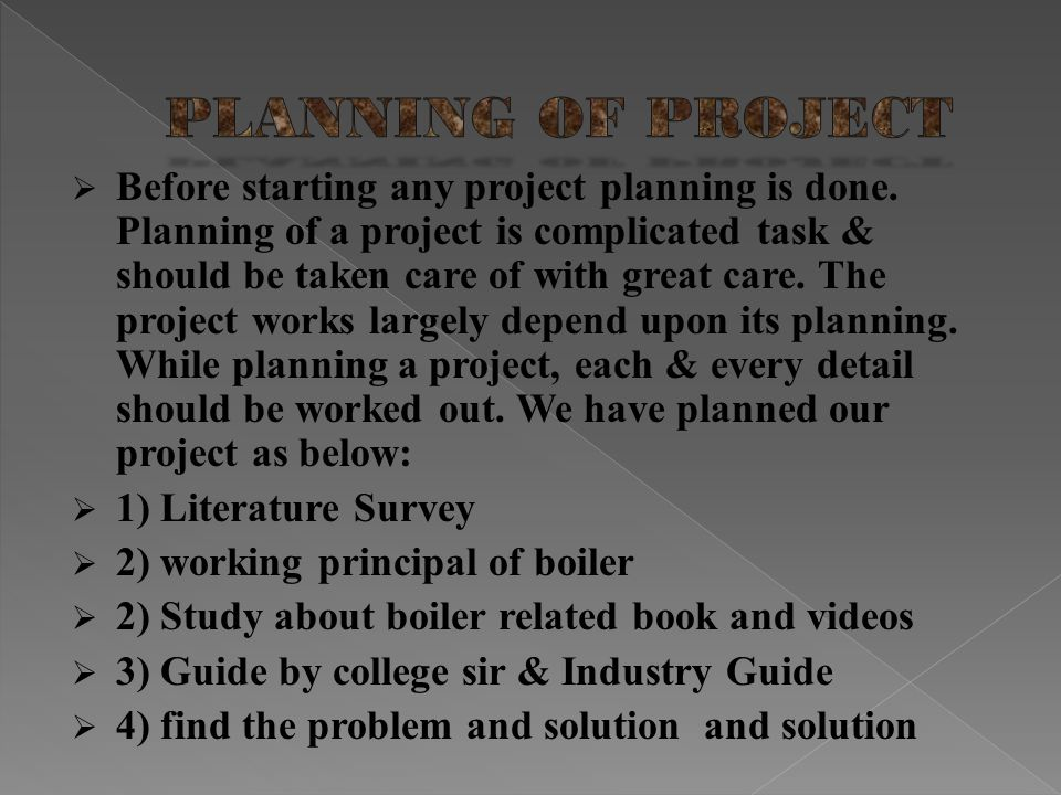 PLANNING OF PROJECT