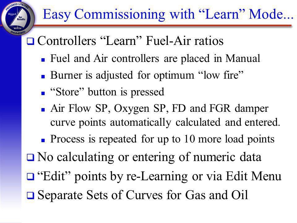 Easy Commissioning with Learn Mode...