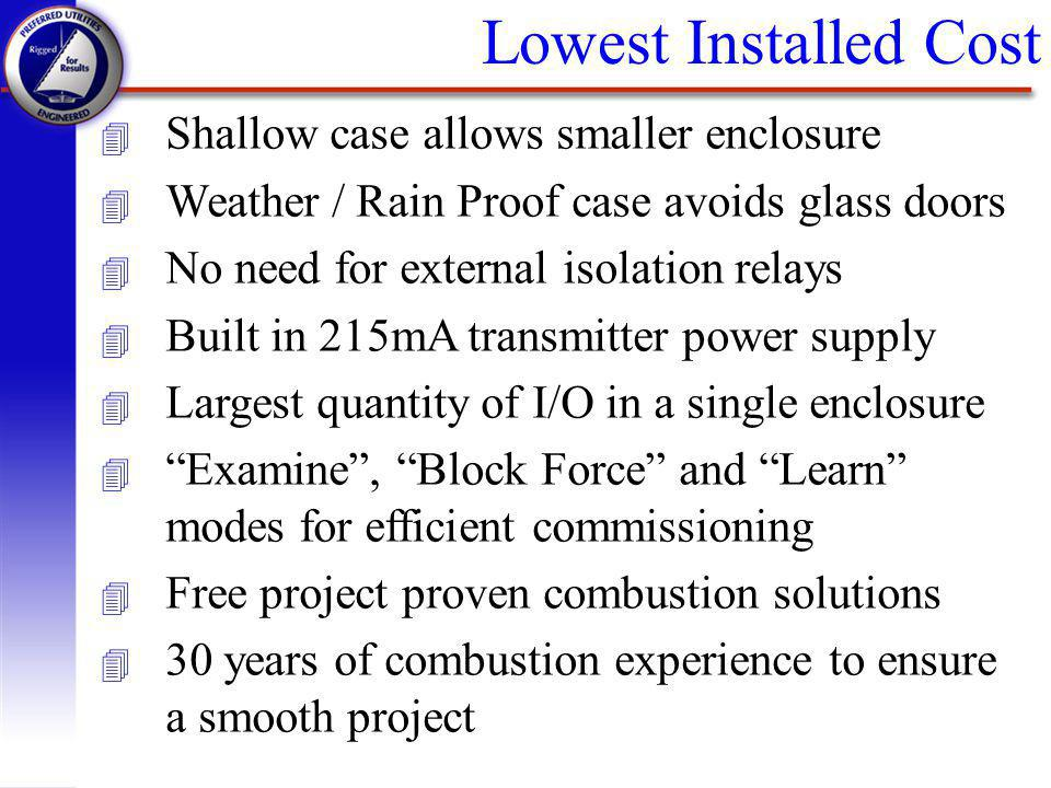 Lowest Installed Cost Shallow case allows smaller enclosure
