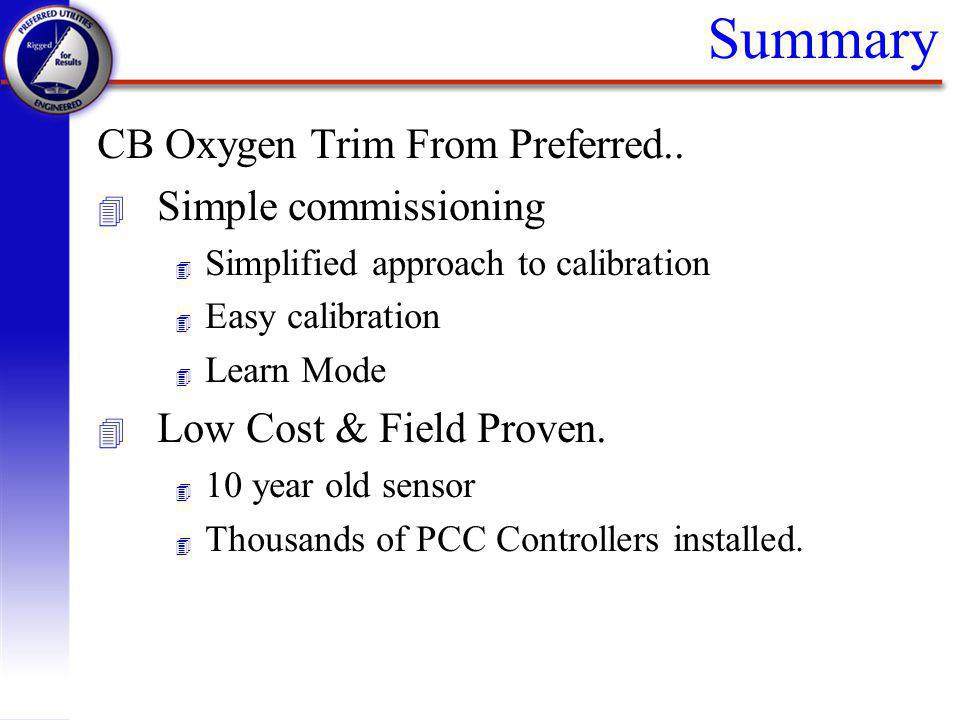 Summary CB Oxygen Trim From Preferred.. Simple commissioning