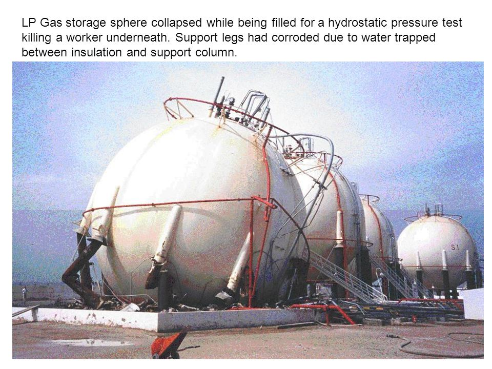 LP Gas storage sphere collapsed while being filled for a hydrostatic pressure test killing a worker underneath.