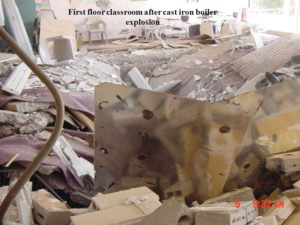 First floor classroom after cast iron boiler explosion