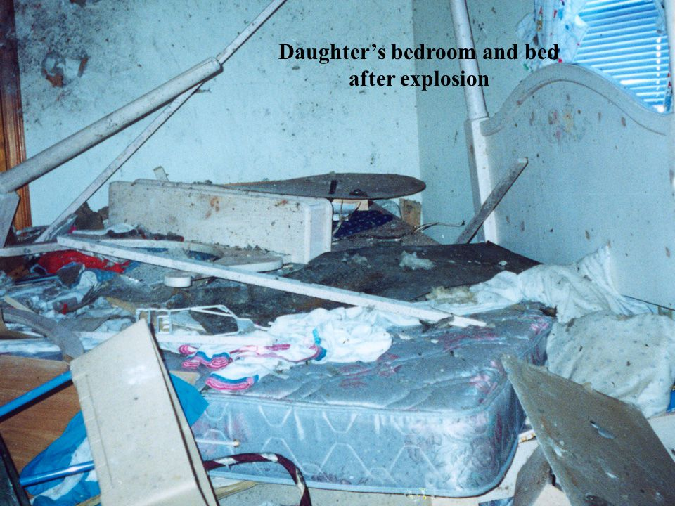 Daughter's bedroom and bed after explosion
