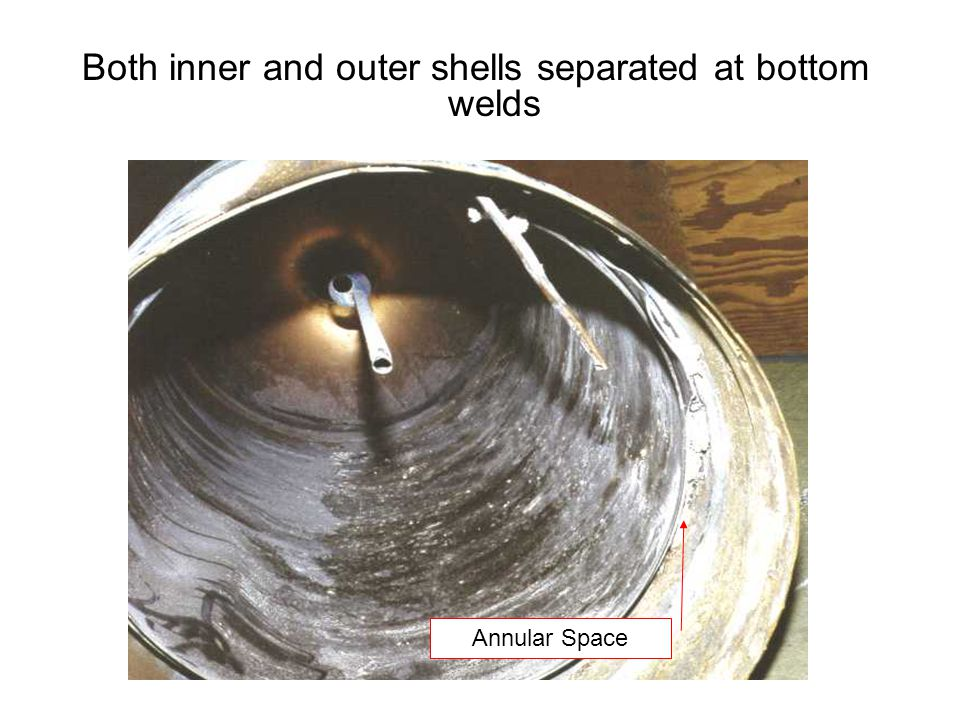Both inner and outer shells separated at bottom welds