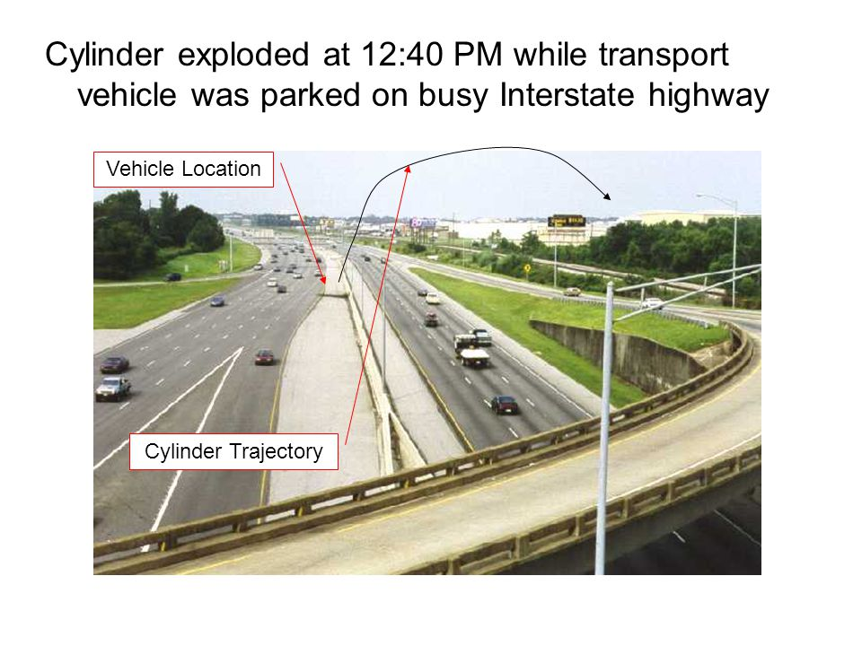 Cylinder exploded at 12:40 PM while transport vehicle was parked on busy Interstate highway