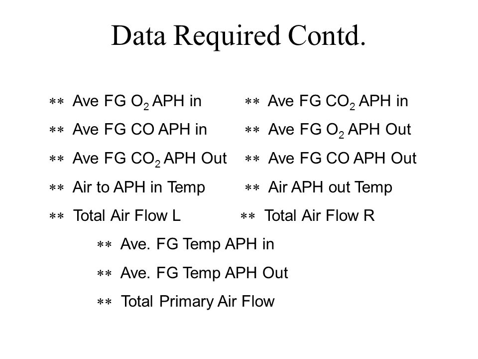 Data Required Contd. ** Ave FG O2 APH in ** Ave FG CO2 APH in