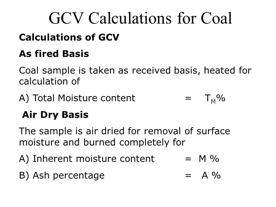 GCV Calculations for Coal