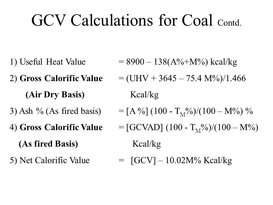 GCV Calculations for Coal Contd.