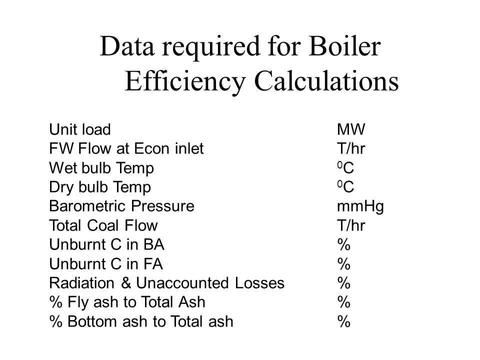 Data required for Boiler Efficiency Calculations