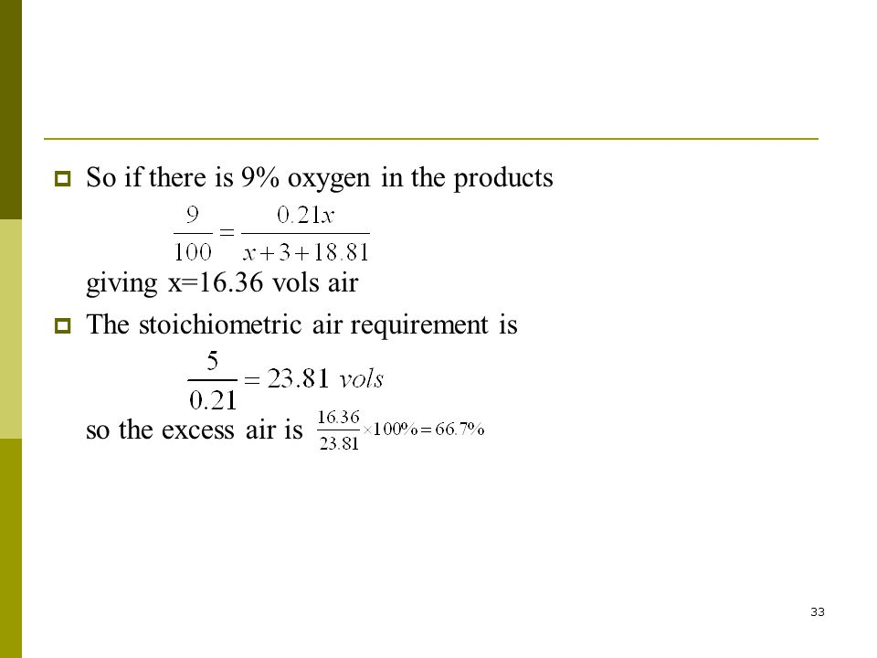 So if there is 9% oxygen in the products giving x=16.36 vols air