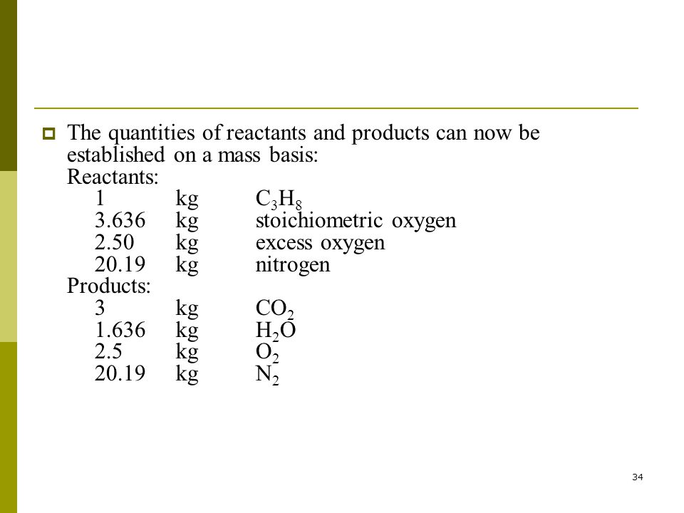 The quantities of reactants and products can now be established on a mass basis: Reactants: 1 kg C3H8 3.636 kg stoichiometric oxygen 2.50 kg excess oxygen 20.19 kg nitrogen Products: 3 kg CO2 1.636 kg H2O 2.5 kg O2 20.19 kg N2