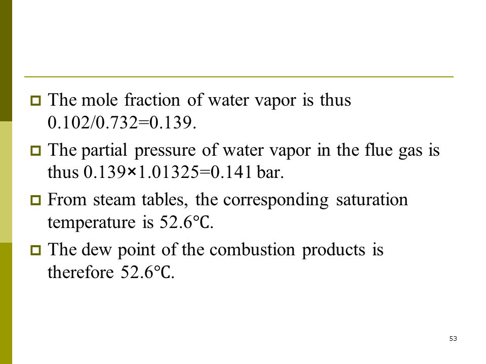 The mole fraction of water vapor is thus 0.102/0.732=0.139.