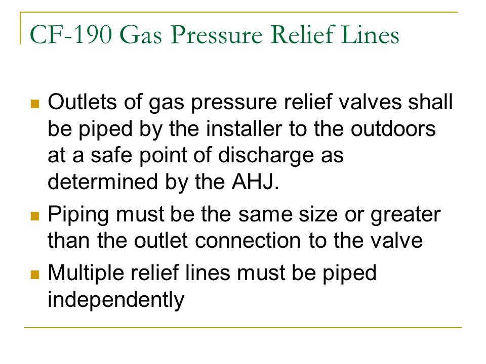 CF-190 Gas Pressure Relief Lines