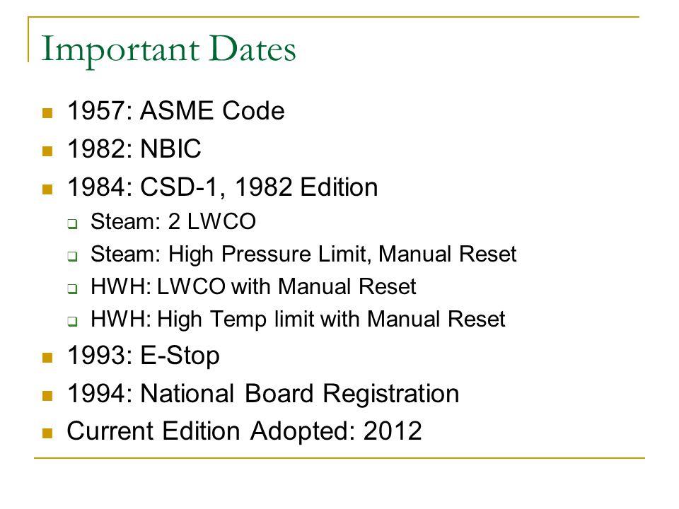 Important Dates 1957: ASME Code 1982: NBIC 1984: CSD-1, 1982 Edition