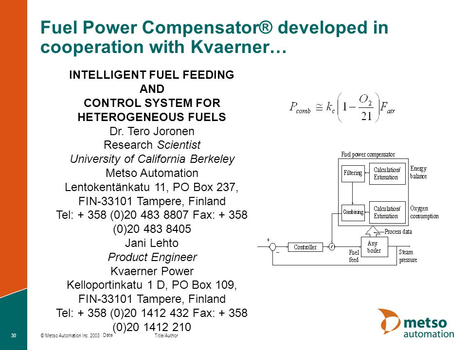 Fuel Power Compensator® developed in cooperation with Kvaerner…