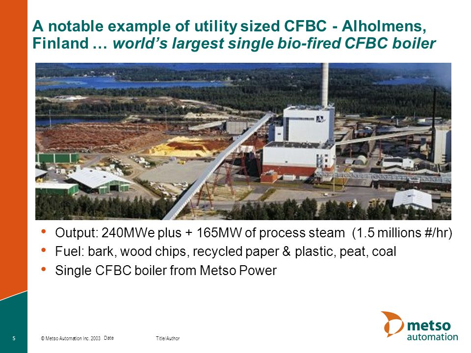 A notable example of utility sized CFBC - Alholmens, Finland … world's largest single bio-fired CFBC boiler