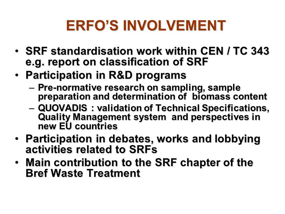 ERFO'S INVOLVEMENT SRF standardisation work within CEN / TC 343 e.g. report on classification of SRF.