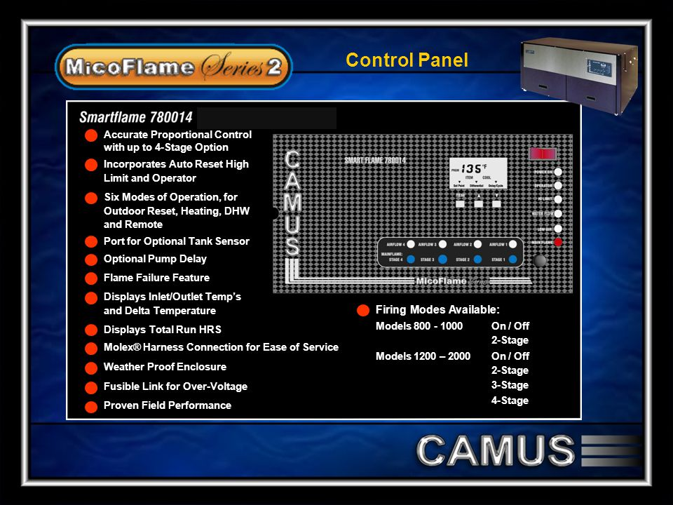 Control Panel Firing Modes Available: Accurate Proportional Control
