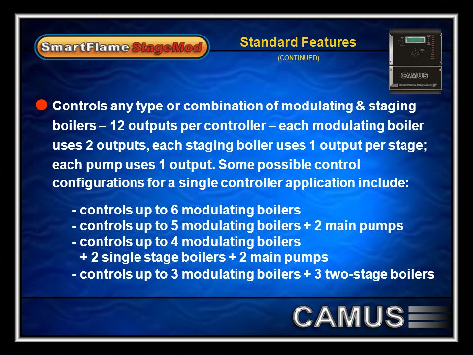 Controls any type or combination of modulating & staging