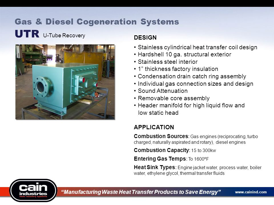 Gas & Diesel Cogeneration Systems UTR U-Tube Recovery