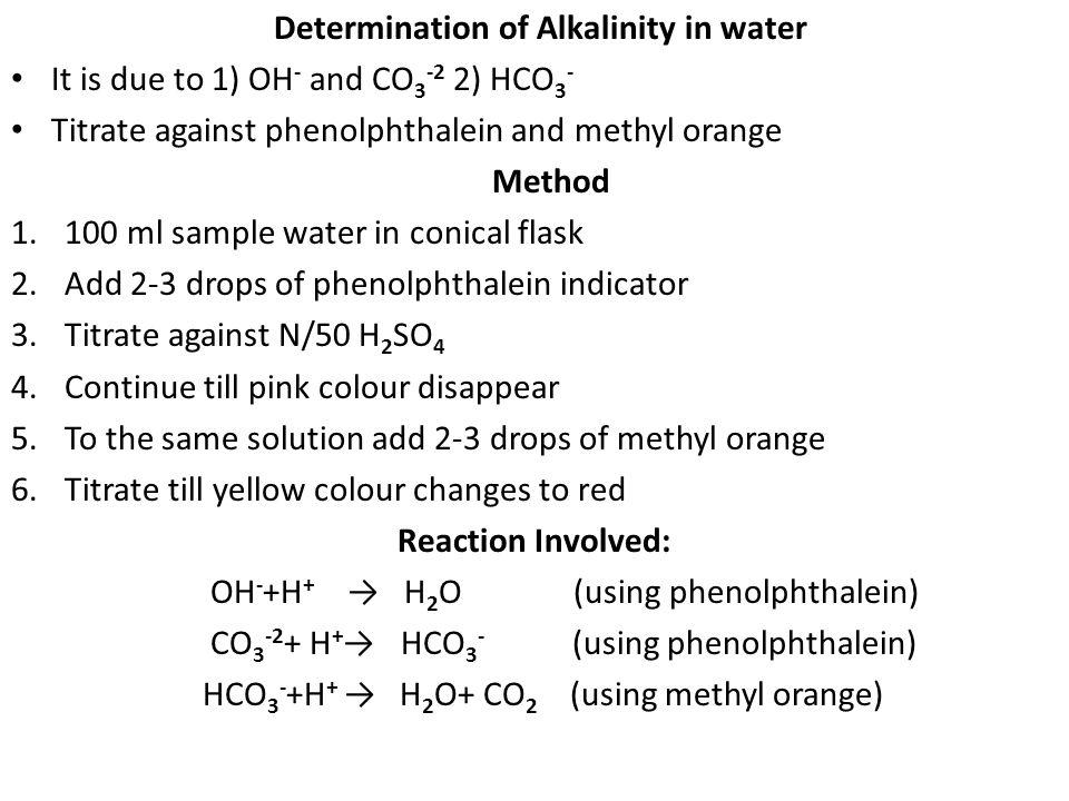 Determination of Alkalinity in water