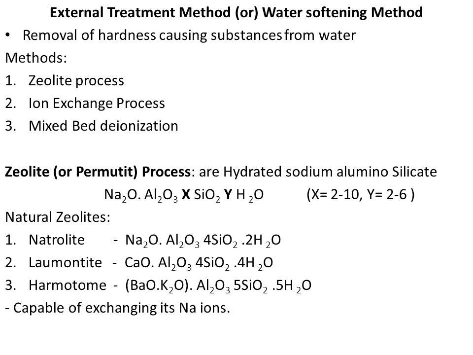 External Treatment Method (or) Water softening Method