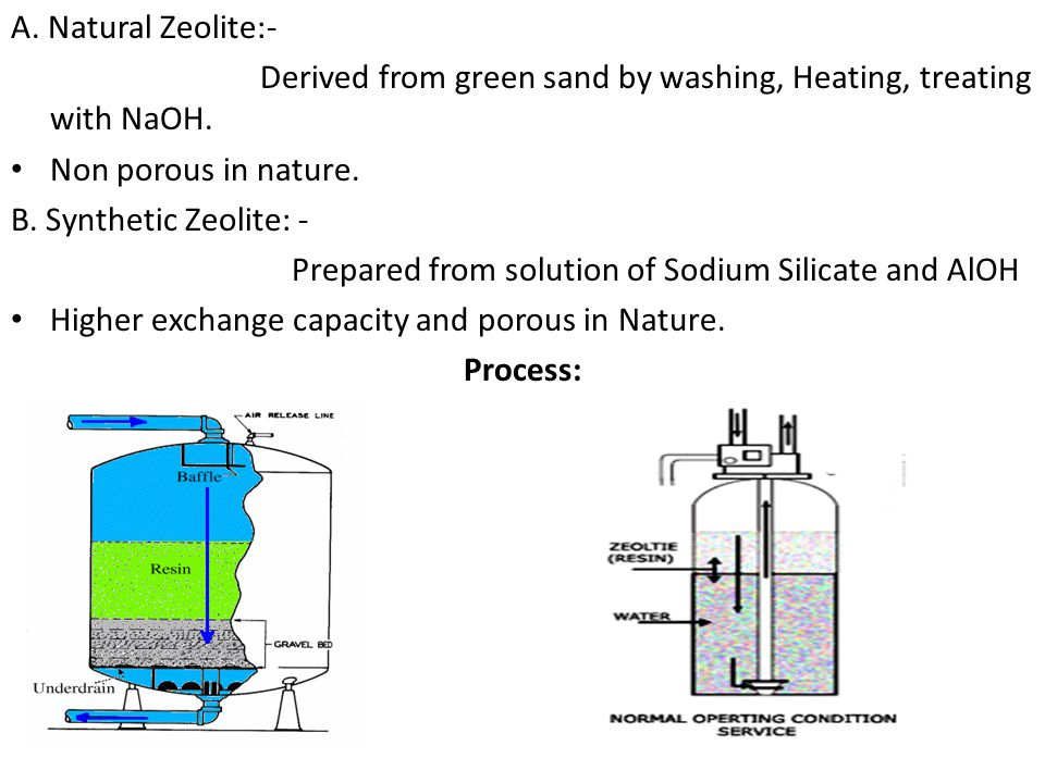 A. Natural Zeolite:- Derived from green sand by washing, Heating, treating with NaOH. Non porous in nature.