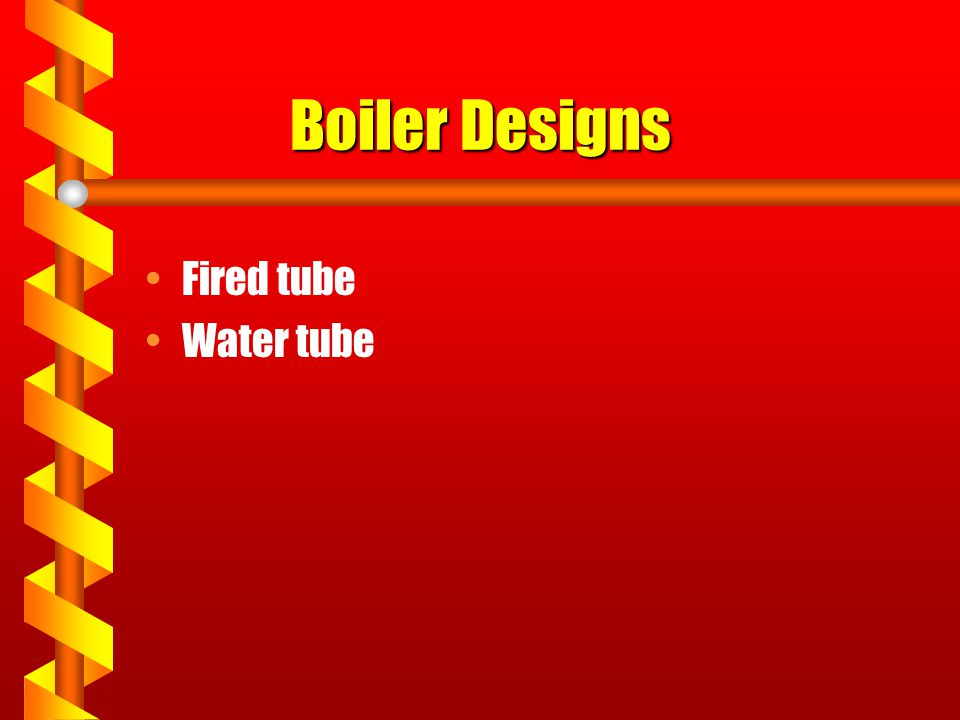 Boiler Designs Fired tube Water tube