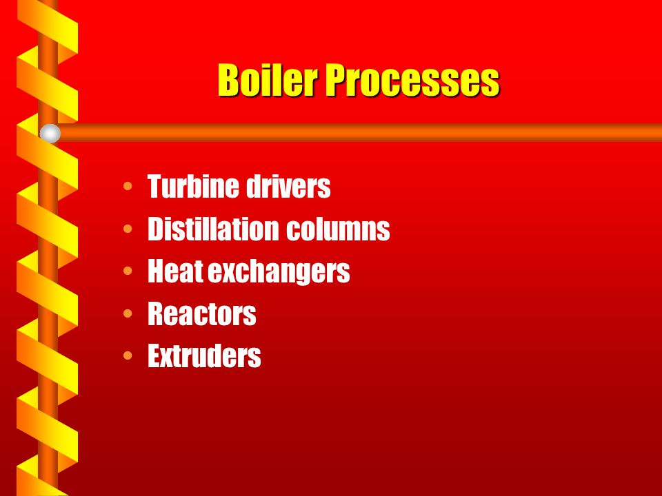 Boiler Processes Turbine drivers Distillation columns Heat exchangers
