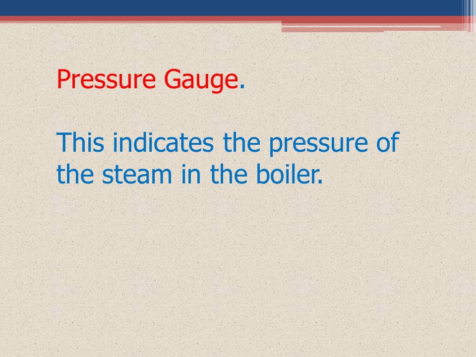 Pressure Gauge. This indicates the pressure of the steam in the boiler.