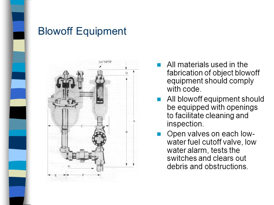 Blowoff Equipment All materials used in the fabrication of object blowoff equipment should comply with code.