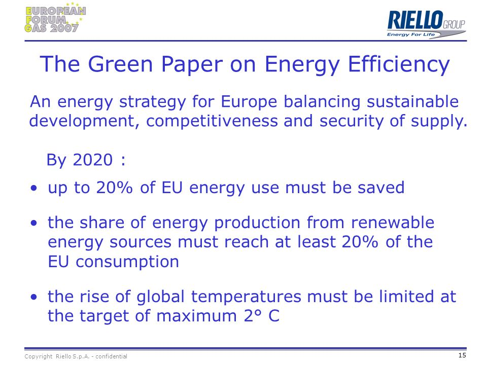 The Green Paper on Energy Efficiency An energy strategy for Europe balancing sustainable development, competitiveness and security of supply. By 2020 :