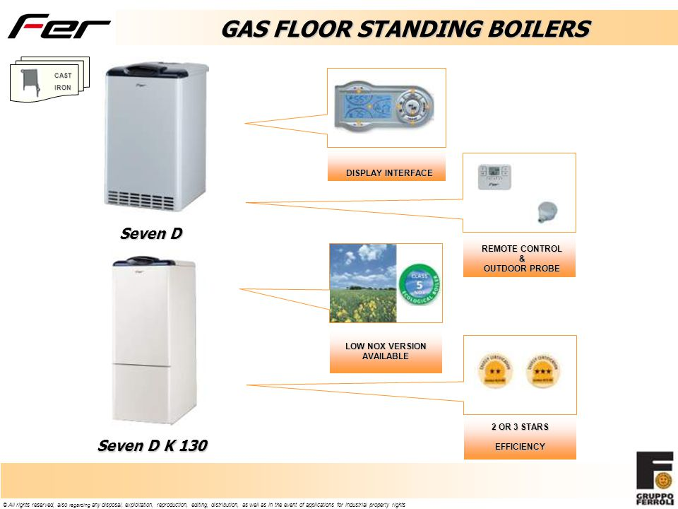 GAS FLOOR STANDING BOILERS LOW NOX VERSION AVAILABLE