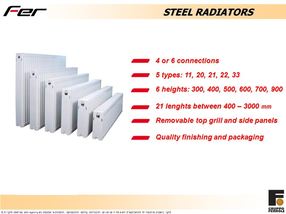 STEEL RADIATORS 4 or 6 connections 5 types: 11, 20, 21, 22, 33