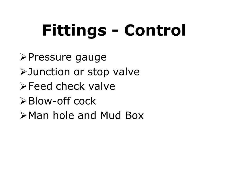 Fittings - Control Pressure gauge Junction or stop valve