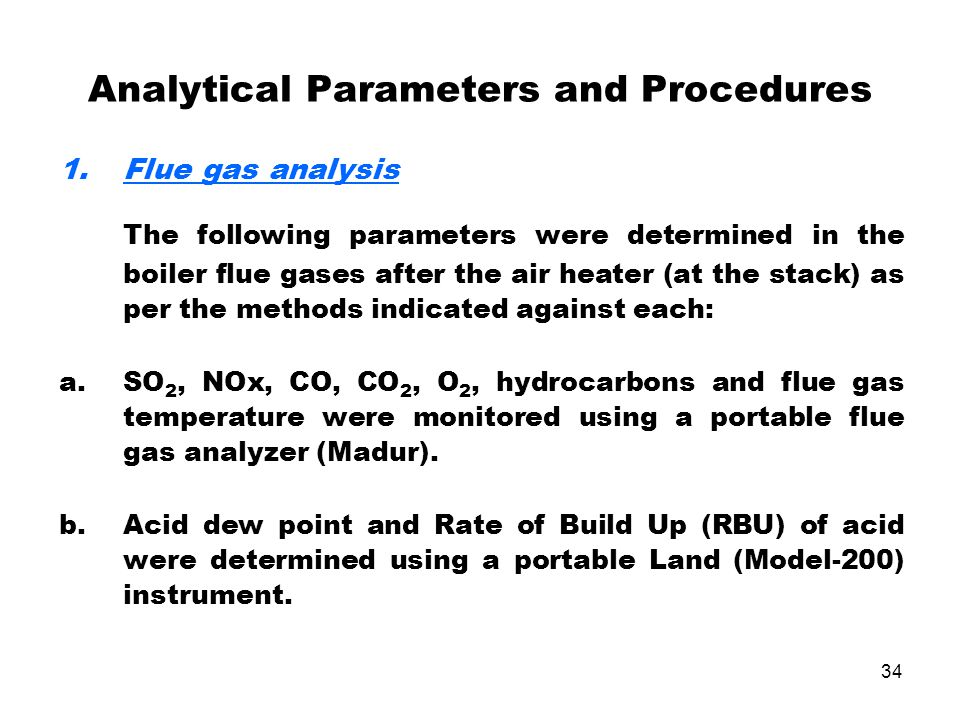 Analytical Parameters and Procedures