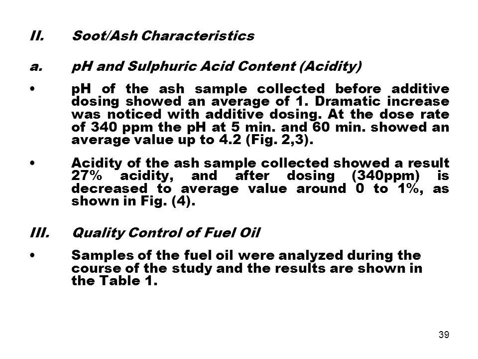 Soot/Ash Characteristics