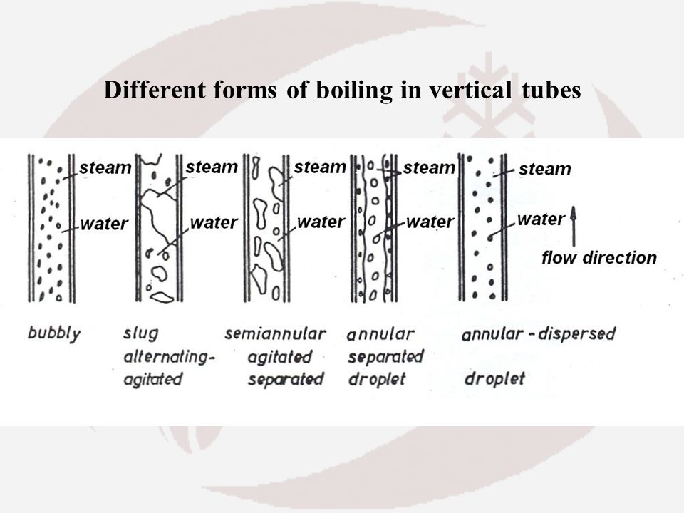 Different forms of boiling in vertical tubes