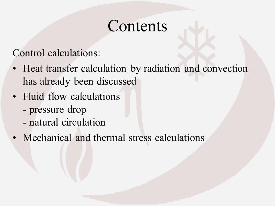 Contents Control calculations: