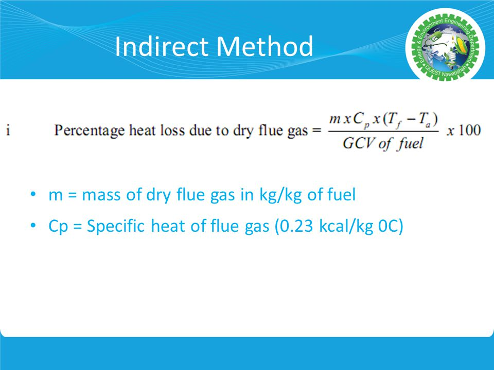 Indirect Method m = mass of dry flue gas in kg/kg of fuel