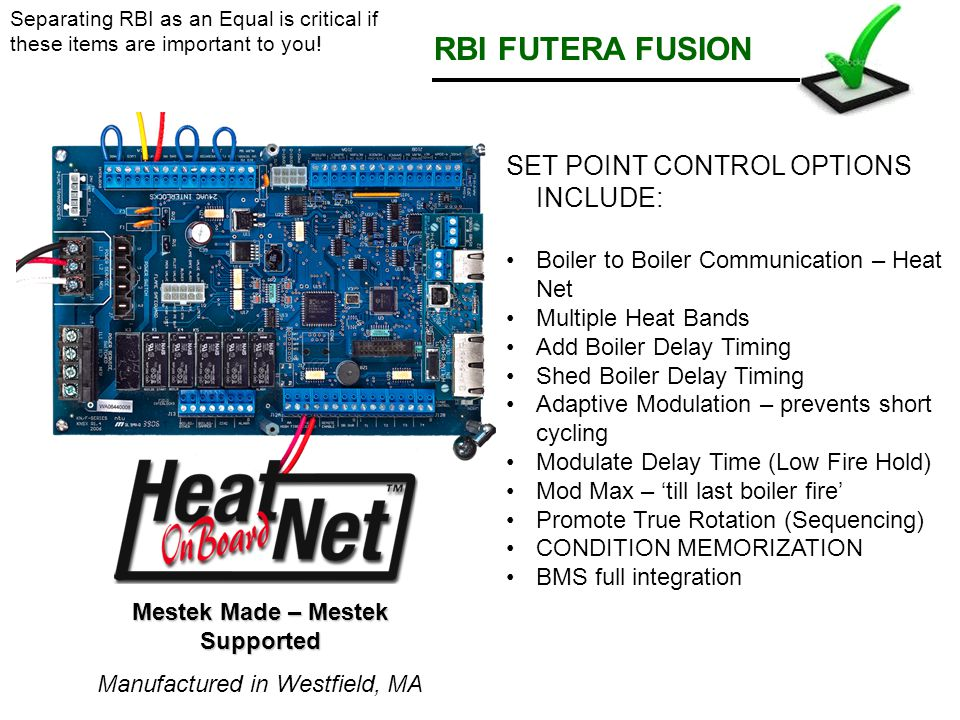 RBI FUTERA FUSION SET POINT CONTROL OPTIONS INCLUDE: