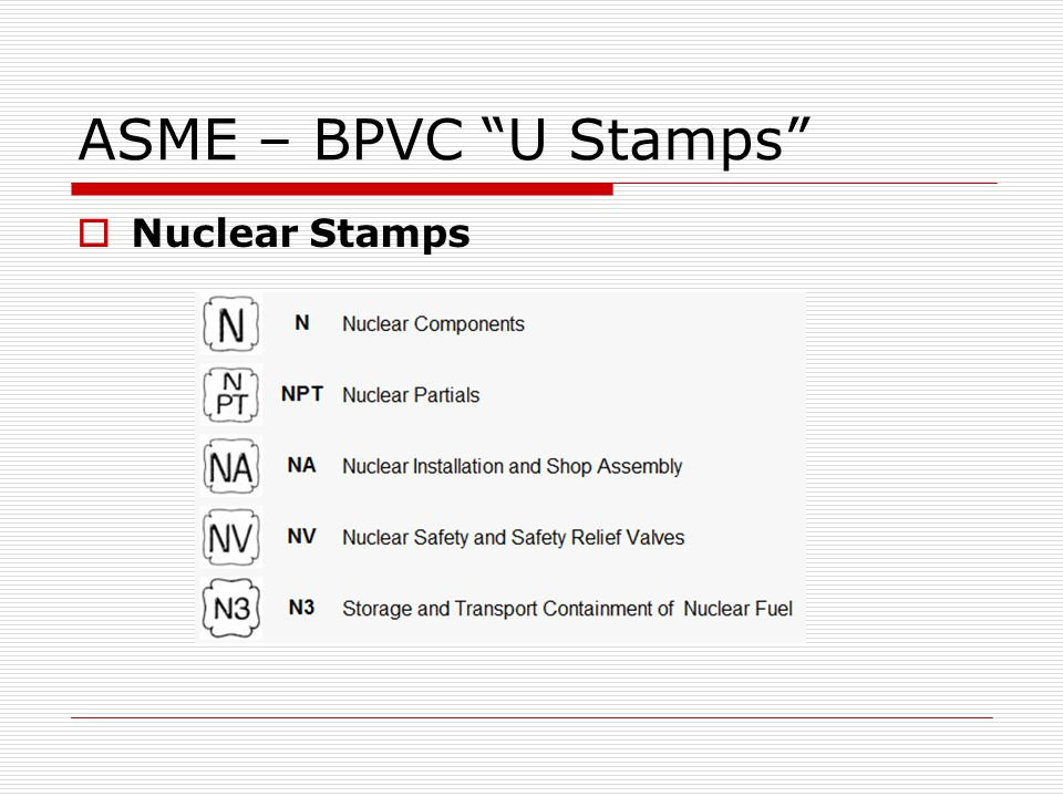 ASME – BPVC U Stamps Nuclear Stamps