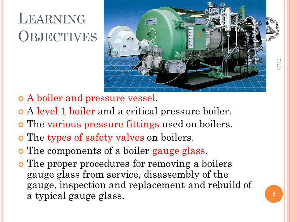Learning Objectives A boiler and pressure vessel.