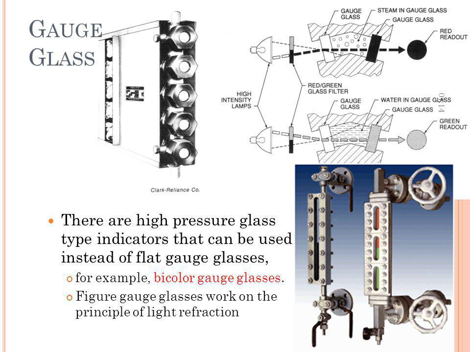 Gauge Glass 12:36. There are high pressure glass type indicators that can be used instead of flat gauge glasses,