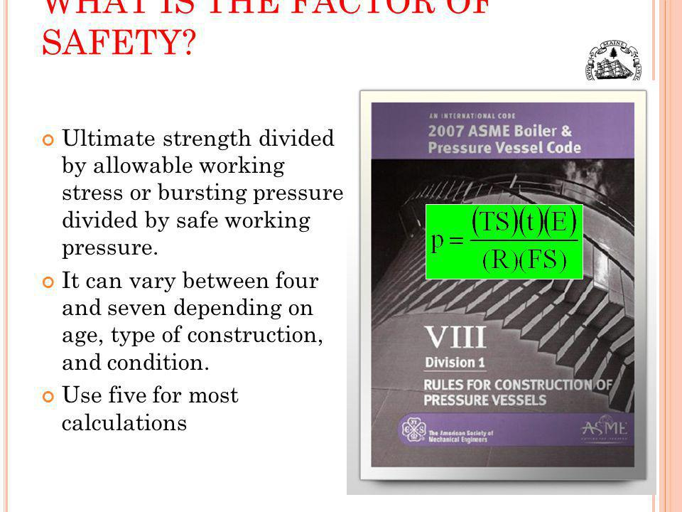 WHAT IS THE FACTOR OF SAFETY